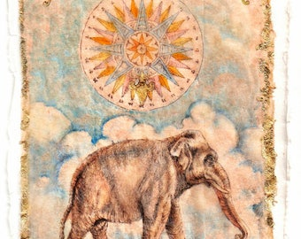Gladly His Suns Do Fly, Elephant, Drawing on teabag, ink drawing, Kabbalah, elephant drawing, original art,  elephant art,