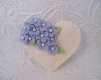 Felt Heart Flower Brooch Pin Mothers Day Beaded Blue Mom