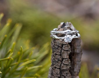 Engagement Ring Diamond Solitaire- Nature Inspired Diamond Twig Engagement Ring Solitaire in Platinum, Yellow Gold, White Gold or Rose Gold