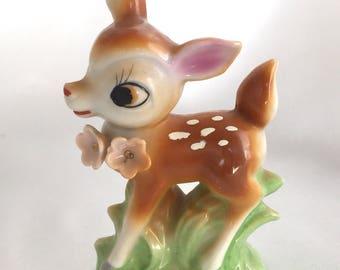 Vintage Ceramic Kitsch Deer Figurine Japan