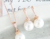 Wakina - Rose Gold Pearl Earrings, Crystal teardrop, Swarovski pearl drop, Wedding Bridal, Bridesmaid earrings, Clear White weddings