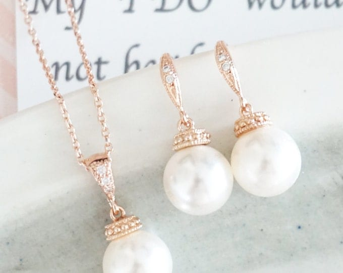 Wakina - Rose Gold Pearl Earrings, Crystal teardrop, Swarovski pearl drop, Wedding Bridal, Bridesmaid earrings, Clear White weddings