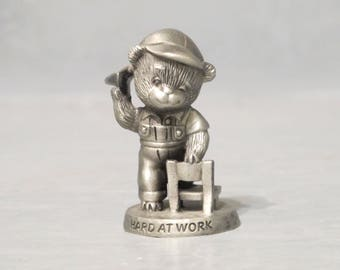 Vintage Miniature Teddy Bear Pewter Figurine / Cute Little Teddy Bear Tossing Paper Airplane Precious Tiny Animal Collectible Silver Metal