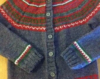 Fair Isle Sweater Size 5, Fair Isle Cardigan Sweater Size 6 - 8, Icelandic Sweater, Fair Isle Sweater Size 9-10, Child Knit Cardigan Size 12