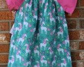 Unicorn Pink and White Polka Dot Girl's Dress Size 5T Ready to Ship