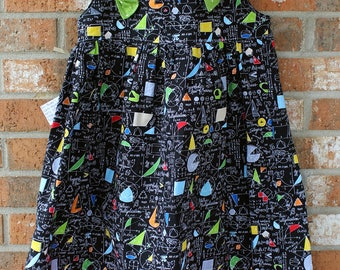 Girl Power Math Equations Tie Dress Size 8 Ready to Ship Polka Dot