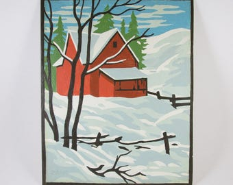 Paint by Numbers Vintage Red Barn Winter Season Craft House PBN Unframed Painting Farm Country