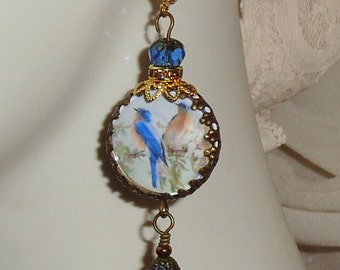 Vintage blue birds art print image bead charm cabochon Picasso beads  earrings Sacred Jewelry Pamelia Designs