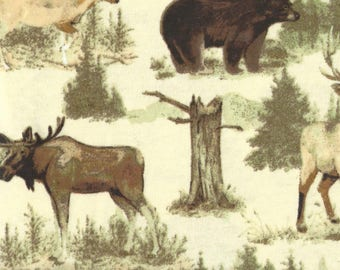 """MOOSE, BEAR, DEER Flannel Fabric, 1 yard x 42"""" inches wide.  Brand new."""