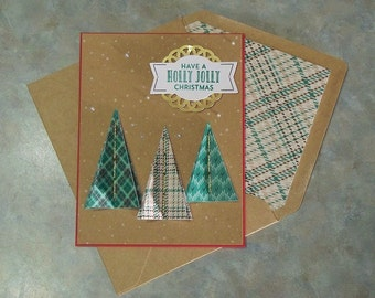 """Handmade Stampin Up Christmas Card - 5 1/2"""" x 4 1/4"""" -  Stitched with Cheer Plaid Trees- Lined Envelope"""