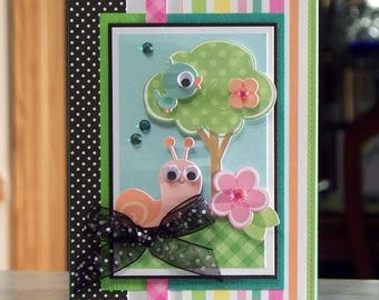Handmade Greeting Card Features Cute Snail & Bluebird with Google Eyes, Perfect for Children Birthday