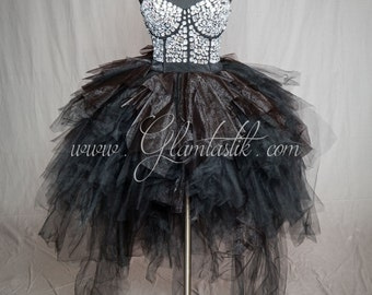 READY TO SHIP Size Medium rhinestone Corset Prom dress with Black tulle skirting