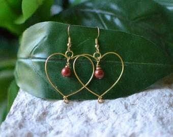 Red Jasper Earrings - Red Jasper Gold Earrings - Heart Earrings - Red Jasper Heart Earrings - Red Jasper Jewelry - Jasper Earrings