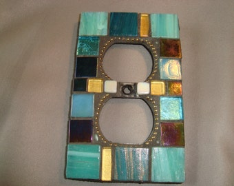 MOSAIC Electrical Outlet COVER , Wall Plate, Wall Art, Turquoise, Gold, Iridescent Black