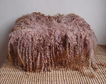 Large newborn props brown shades curly flokati newborn felted rug, flat curly felt, basket filler, wool fluff, blanket by lafiabarussa