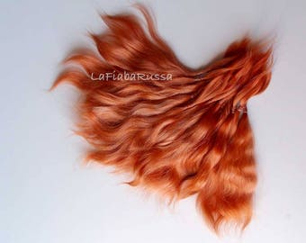 Combed Mohair straight locks orange extra long 8-9 in for Doll Hair reroot/ Reborn/ BJD, Art Dolls, blythe, pullip, minifee, waldorf doll