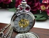 Pocket Watch Engraved Silver Roman Mechanical - Double Cover - Engravable, Groomsmen, Wedding, Men, Victorian Steampunk Era - Item MPW233