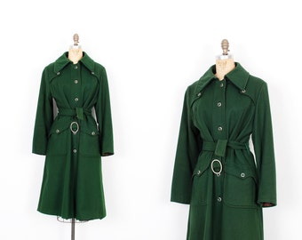 Vintage 1970s Coat / 70s Belted Wool Trench Coat / Forest Green ( M L )