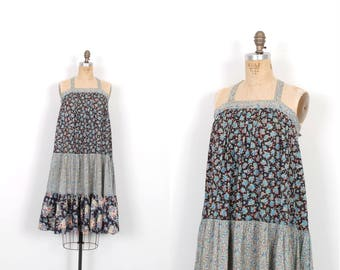 Vintage 1970s Dress / 70s Mixed Floral Print Cotton Tent Dress / Blue ( XS S )