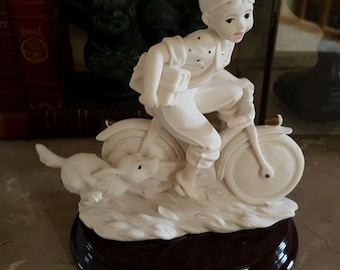 Vintage Giuseppe Armani Capodimonte Figurine Boy Bicycle w/ Dog Late At School