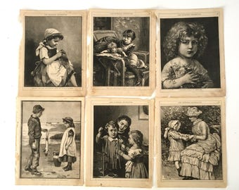 Lot 1800's antique book pages - Children illustration engravings - The Child's companion