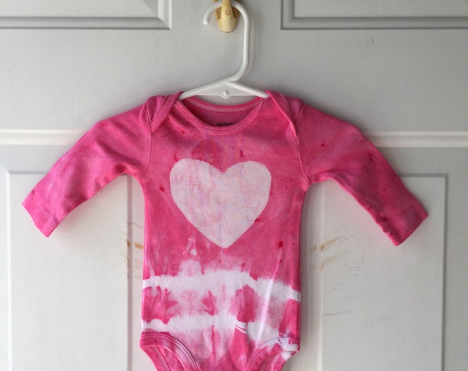 Pink Baby Bodysuit, Baby Girl Bodysuit, Heart Baby Bodysuit, Valentine's Day Baby Bodysuit, Baby Shower Gift, Baby Girl Gift (3 months)