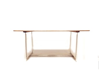 Vintage Mid Century Modern Dining Table In Wood and Chrome