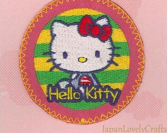 Hello Kitty & Blue Bow Patch, Kawaii Sanrio Embroidered Iron On Patch, Japanese Cute Iron on Applique, Made Japan, Embroidery Applique, W214