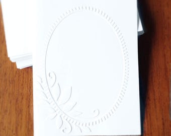 Embossed Cards Oval Frame / Set of 12 / Card Stock / A2 Envelopes / Craft Supplies