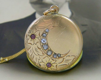 Antique Victorian Crescent Moon Locket Necklace, Gold Filled Locket, Crescent Moon Flower Spray Locket, Celestial Locket, Pink Springtime