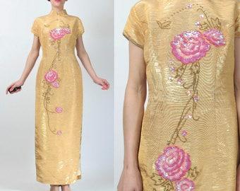 Asian Sequin Dress Vintage Floral Chinese Dress Metallic Gold Brocade Traditional Cheongsam Evening Dress Mandarin Collar Dress (S/M) E4066