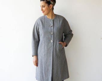 Vintage Gray Coat / Collarless Swing Coat / Size M L