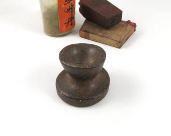 Antique Apothecary Mortar, Small, Curiosity Collectible, Vintage Seed Grinder Base, Dark and Creepy, Rustic Primitive