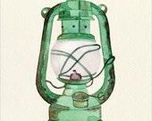 Oil Lantern Unframed Watercolor Art Print