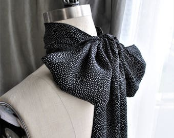 NEW Micro Polka Dot Beauty Long Scarf/Hand made in USA/Head scarf/Hair scarf/French fashion/Bow blouse/Cover up/Perfect summer scarf/