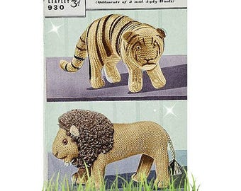 Knitting Pattern - Lion and Tiger Toy pattern - Instant download PDF