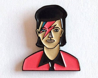 David Bowie Enamel Pin, Pop, Rock, Brooch, Ziggy Stardust Pin