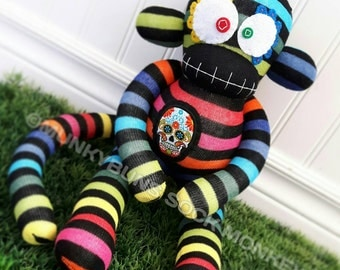 Sugar Skull Sock Monkey Doll