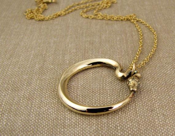 Ouroboros Pendant in 14K Gold