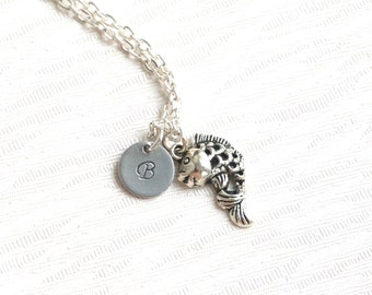Fish Charm Best Friend Necklaces for 2, 3 Personalized Friendship Necklaces With Initials Lucky Fish Charm Best Friend Necklace Fish Jewelry