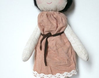 cloth doll,rag doll,,boho doll,eco-friendly made from repurposed fabrics,one of a kind,wool hair, pink dress, linen body, hand painted eyes