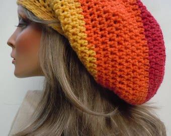 Multi Color Tam, Dreadlock Tam, Rasta Tam Cap, Rasta Hat, Hippie Hat, Bag Hat, Bright Color Cap, Jamaica, Reggae