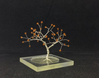 orange wire art tree resin base, orange wire tree statue, miniature home office decor, yoga spiritual minimal decoration, sacral chakra