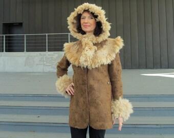 Felted hood, Alpaca hood Brown wool Hood Alpaca hooded capelet Felt winter warm hood, Brown Wool Hat , Warm felt hat Brown alpaca felted hat