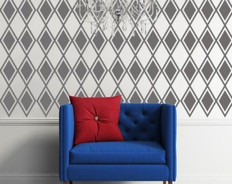 Diamond Decal, Argyle Wall Pattern, Harlequin Decor, Retro Wall Art, Modern Nursery Decor, Apartment Wall Decor, Nursery Wall Decal