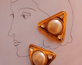 80s YSL Earrings Classic Yves Saint Laurent Big Bold Artsy Geometric Tricorn Gold Tone Clear Crystals Domed Faux Pearls