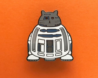 R2D2 Pin - Star Wars Enamel Badge - Lapel Pin - Cat brooch - Fat Kitty - White Cat Brooch - Cat Pin - Cat Droid pin - Hard Enamel Cat Brooch