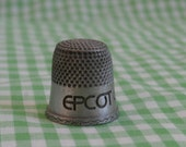 Pewter Epcot Center Souvenir Thimble, Vintage Collectible, 1982 Disney