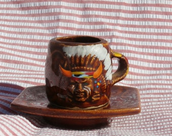 Vintage Indian Head Cup and Saucer, Native American Chief Face, Drum Mini Cup and Saucer