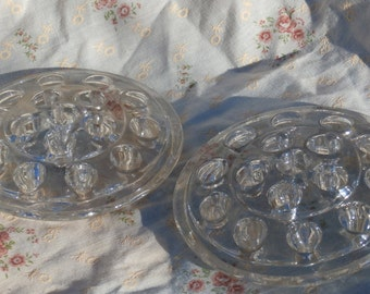 2 Large 16 Hole Glass Flower Frogs, Older Vintage, Clear Glass, 5 inches across